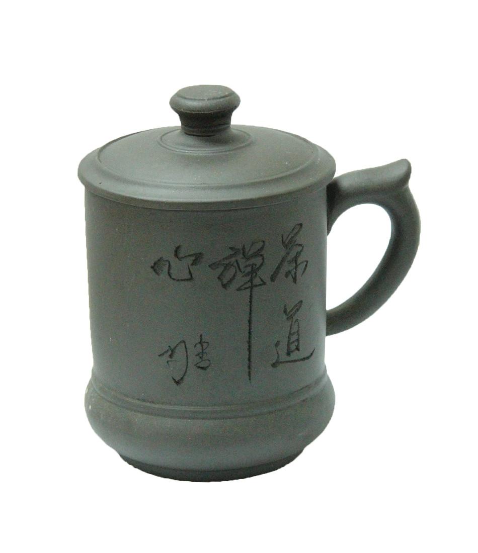 Кружка глиняная с крышкой Бамбуковый куст, 500 мл ( чашка глиняная )