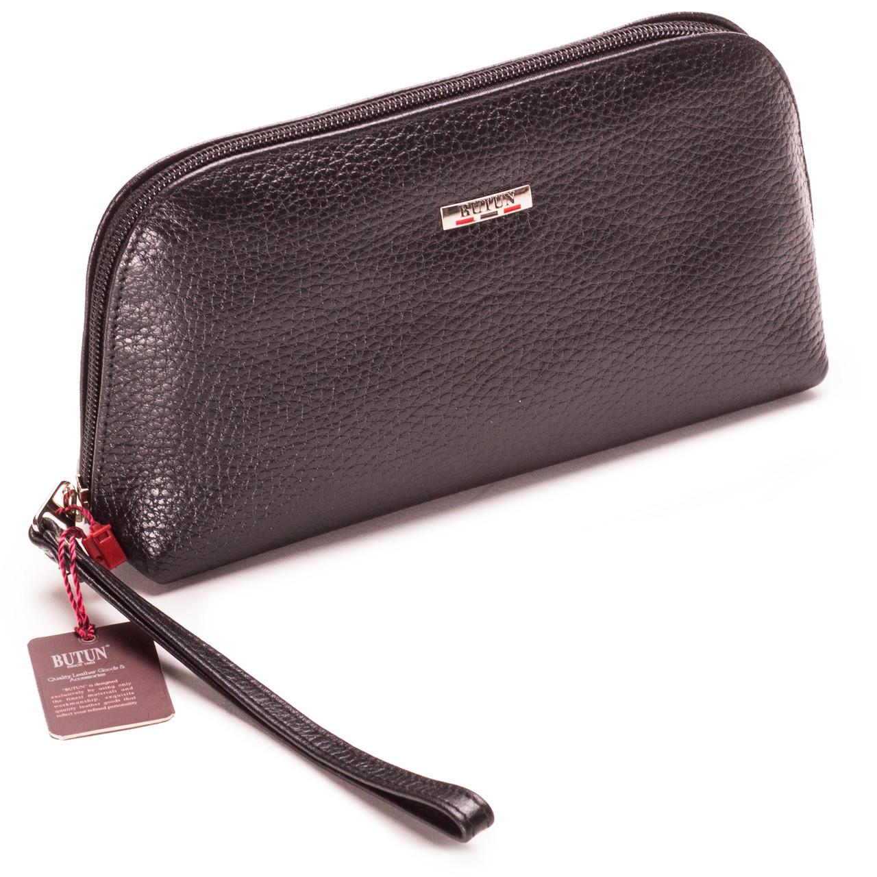 Женская косметичка черная из натуральной кожи Butun 657-004-001