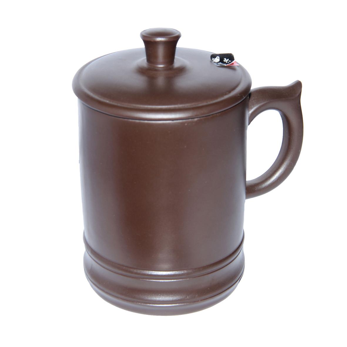 Глиняная кружка с крышкой Глянец, 500 мл ( чашка глиняная )