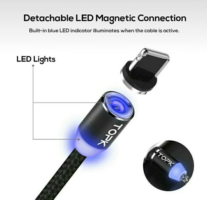 TOPK Магнитный кабель зарядной micro usb с led подсветкой iphone, samsung