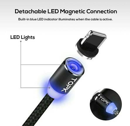 TOPK Магнитный кабель зарядной micro usb с led подсветкой iphone, samsung, фото 2