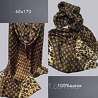 Шарф палантин брендовый TAH Луи Витон шелк100%, 65х170, цв.2