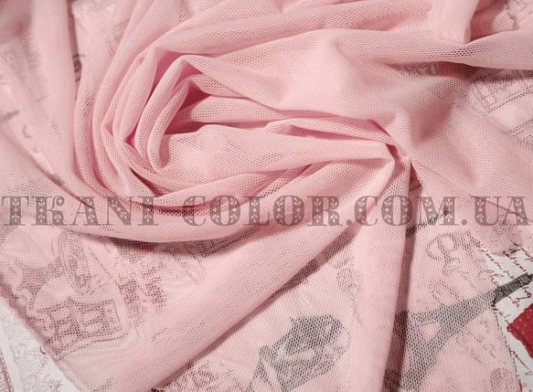 Ткань сетка стрейч розовая, фото 2