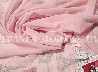 Ткань сетка стрейч розовая