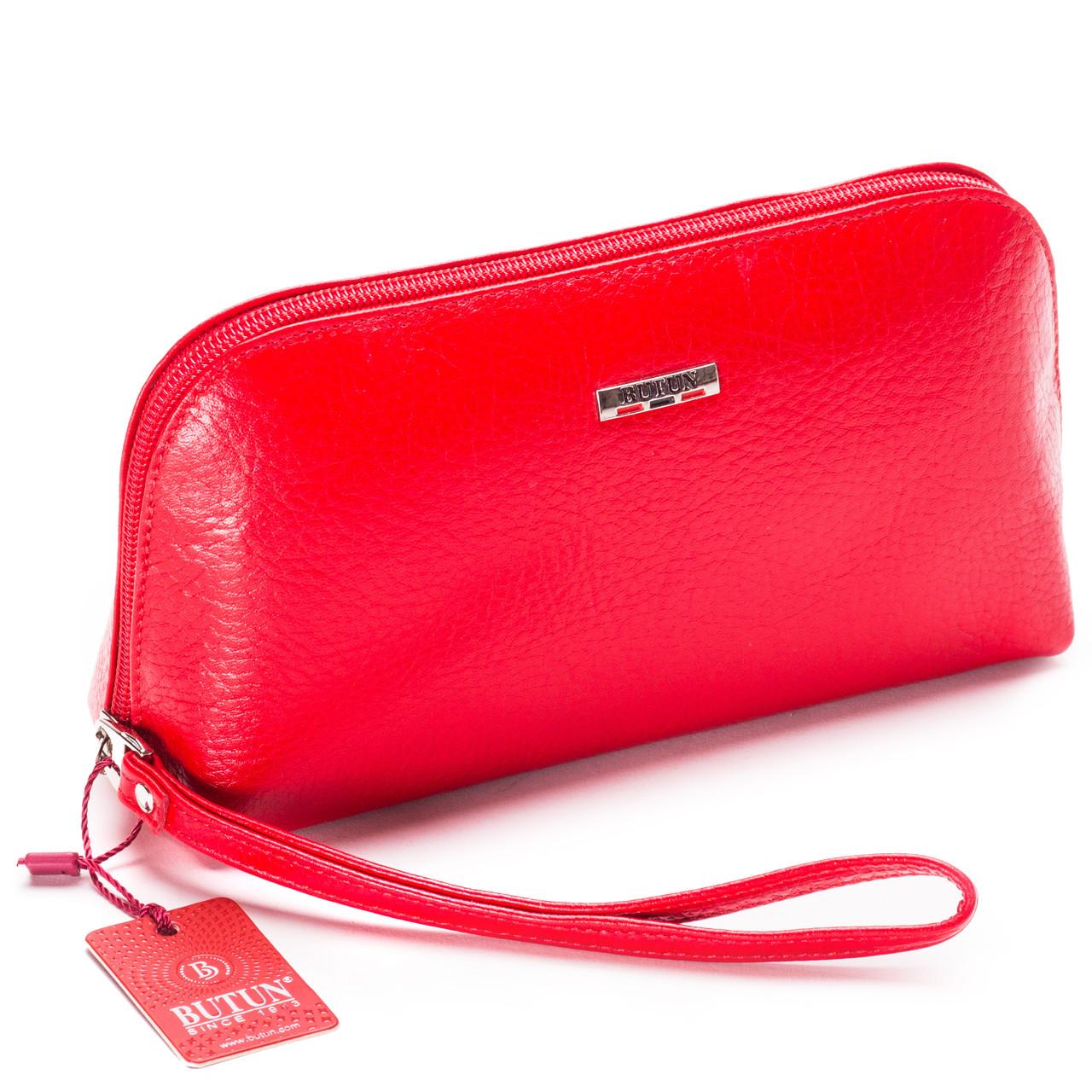 Женская косметичка красная из натуральной кожи Butun 657-004-006