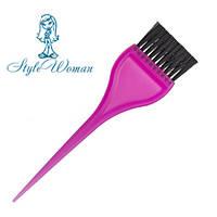 Кисть для окрашивания волос широкая цветная №216 кисточка для краски