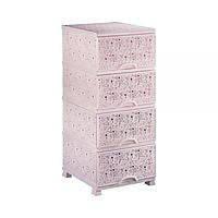 Пластиковый розовый комод Lace Elif plastik 293-3LF