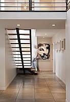 Прямая лестница на металлическом косоуре. В дом или квартиру. На второй этаж. Изготовление на заказ