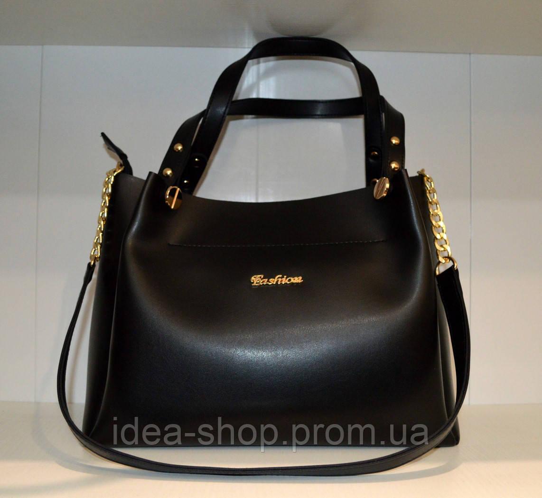8868b3d233a0 Женская сумка шоппер из экокожи черного цвета - интернет-магазин