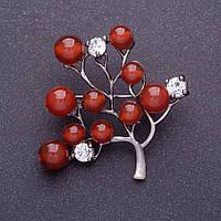 "Брошь ""Сердоликовое дерево"" 4,5х4,5см цвет металла серебро"