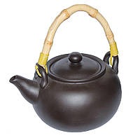 Глиняный чайник Черное золото с бамбуковой ручкой, 950 мл