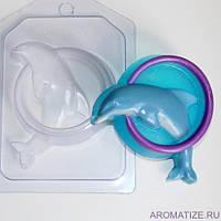 Пластиковая форма для мыла  Дельфин в обруче