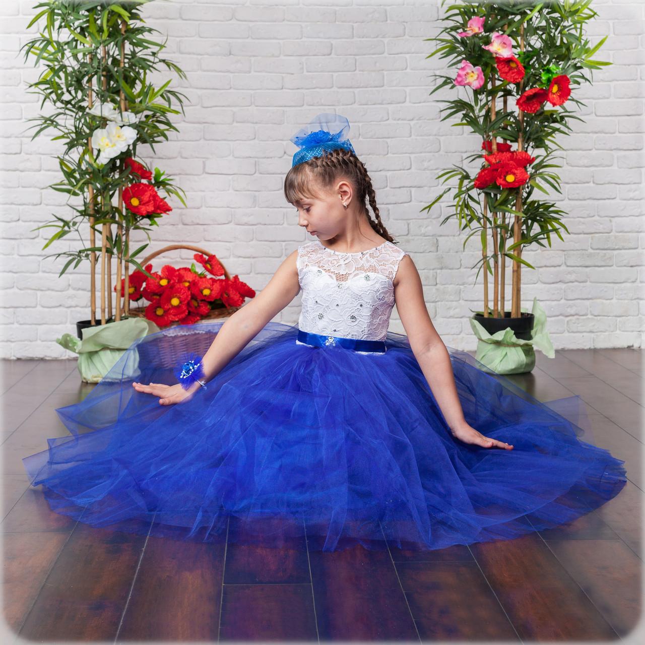 Детское бальное нарядное платье в пол в синем цвете из фатина