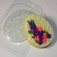Пластиковая форма для мыла Яйцо плоское орнамент цветы