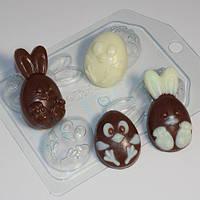 Пластиковая форма для мыла яичный кролик и ципленок мини