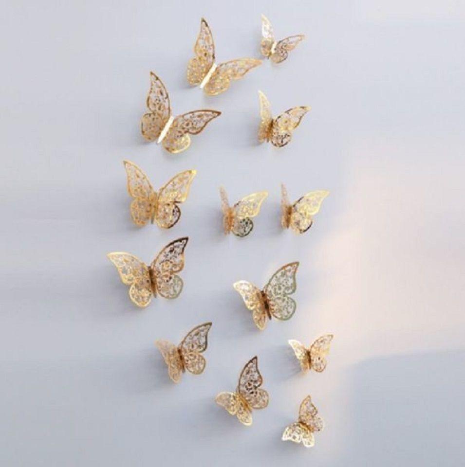 Бабочки на скотче золотистые - в наборе 12шт., в набор входит скотч