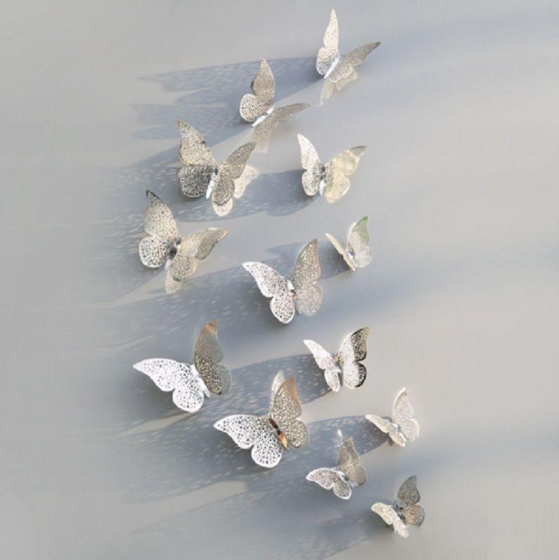 Бабочки на скотче серебристые - в наборе 12шт. разных размеров, в комплект идет 2-х сторонний скотч