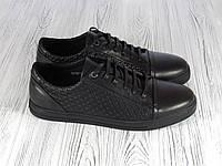 Кеды мужские кожаные черные  Man's, фото 1