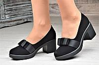 Туфли женские на каблуке и небольшой платформе черные элегантные (Код: 1095а)