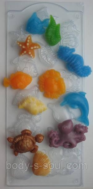 Пластиковая форма для мыла Морское ассорти
