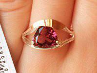 Кольцо серебряное с золотыми накладками Джен с турмалином