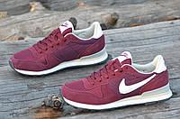 Кроссовки женские, подростковые натуральная кожа, замша бордовые Nike Air Max реплика (Код: 1103а)