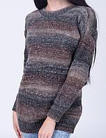 Стильная женская туника из меланжевой шерстяной пряжи. Шерстяная женская туника. Вязаная туника женская 44, коричневый меланж