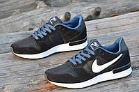 Кроссовки мужские натуральная кожа, замша черные легкие Nike Air Max реплика (Код: 1106а)