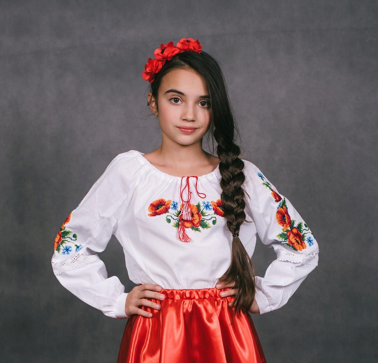Вишиванка дитяча для дівчинки Романія, фото 1