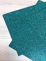 Фоамиран 2мм с глитером (бирюза), фото 1