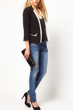 Черно-белый женский пиджак CC-5191-10