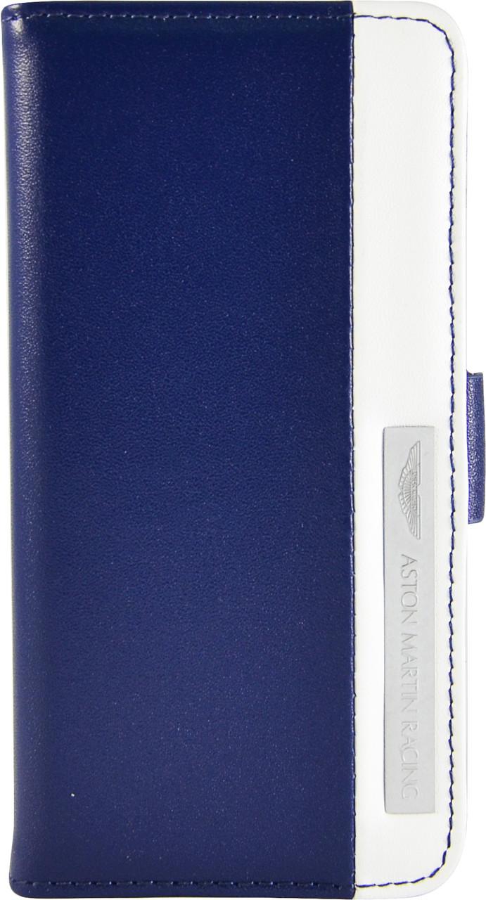 Чехол-книжка Aston Martin iPhone 5C stripe metal logo blue/white SMBKIPH5CC062