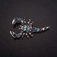 "Брошь Скорпион синие и хамелеон стразы цвет металла ""серебро"" 4,7х2,3см"