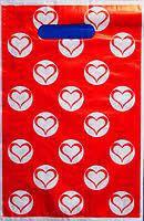 Пакеты банан мини 20*30 '' Красные сердца '' ( 100 штук /уп. ) 20 мкм