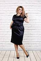 Женское платье из атласа | 0777 (3 цвета) (42-74)