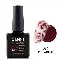 Акварельный гель-лак красно-коричневый Canni  №671 7.3 мл