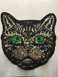 Кот пришивной из пайеток ширина 18см