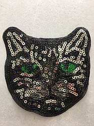 Кот пришивной из пайеток ширина 12 см