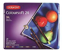 Набор цветных карандашей Derwent Coloursoft 24 цвета металлический пенал