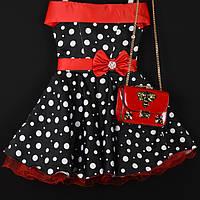 """Платье нарядное детское """"Стиляги"""". 6-9 лет. Корсет - лодочка. Черное в белый горох. Оптом и в розницу, фото 1"""