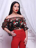 Женские шифоновые топы  с вышивкой Dolce & Gabbana (разные цвета)