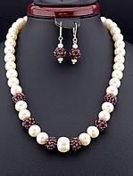 Бусы+Серьги  Жемчуг и Гранат 52 см. - роскошный набор женских украшений из жемчуга и граната