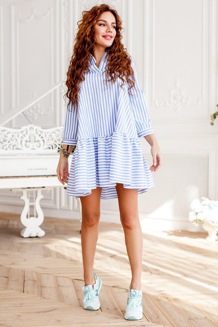 ba4f7533af7 Платье-рубашка модное в полоску с пышным воланом по низу хлопок 2 цвета  SMdi2244