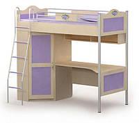 Кровать+стол+шкаф A-16-3 Angel береза с цветными вставками