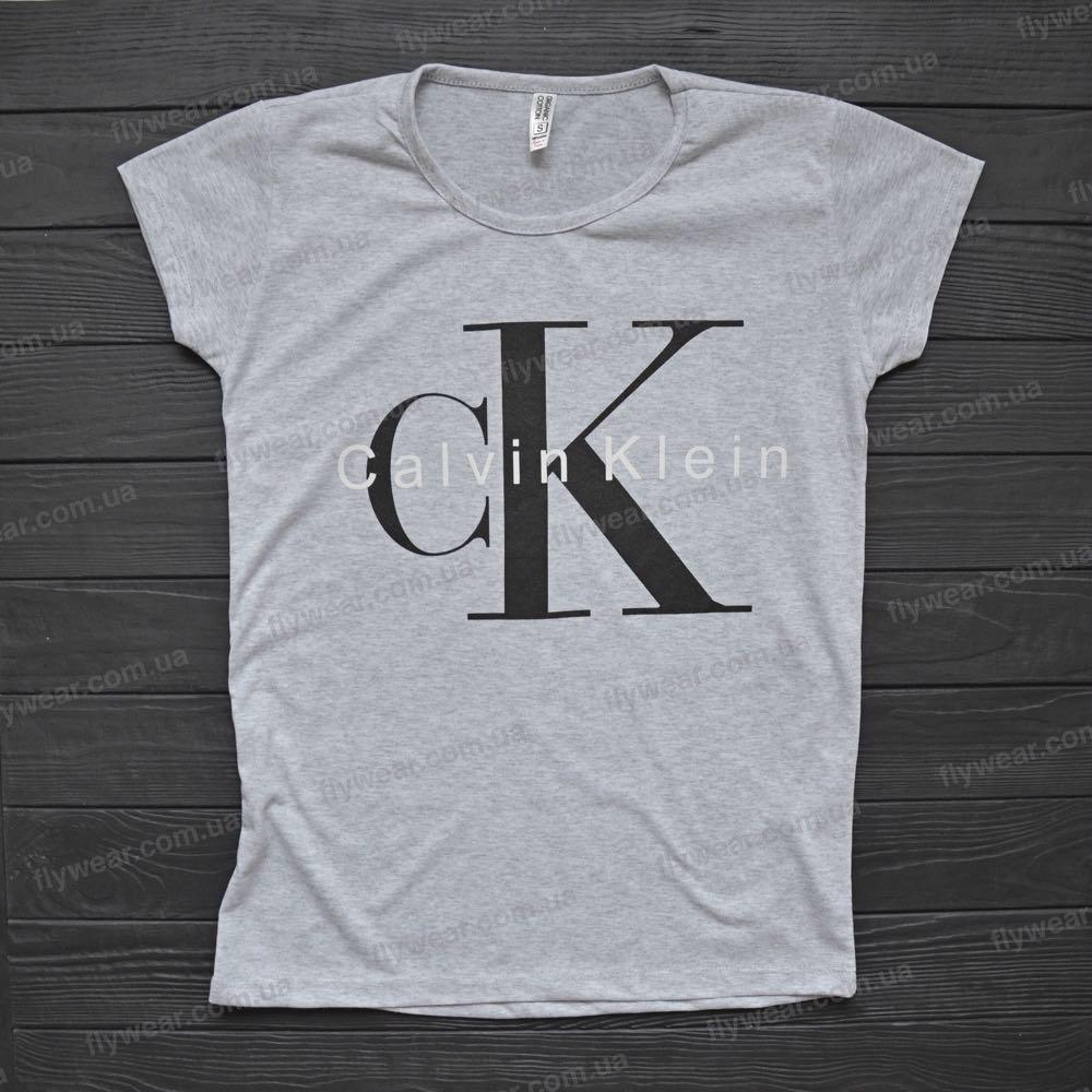 32db54bac20fc Женская серая футболка Calvin Klein (Кельвин Кляйн) - F L Y W E A R в Днепре