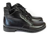 Кожаные женские ботинки на низком каблуке на шнуровке, фото 1