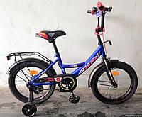 """Велосипед 16"""" дюймов 2-х колёсный С16444 """"CORSO"""" (1) ТЕМНО-СИНИЙ, ручной тормоз, звоночек, сидение с ручкой"""