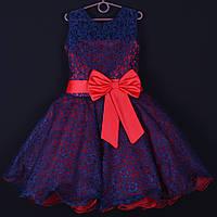 """Платье нарядное детское гипюровое """"Фея"""". 6 лет. Средняя длина. Красное. Оптом и в розницу, фото 1"""