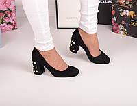 Туфли замшевые на каблуке жемчуг код 20103, фото 1