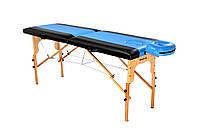 Стол массажный деревянный 2х секционный, кушетка, для наращивания ресниц, RELAX.косметологии, процедур, тату черно-голубой